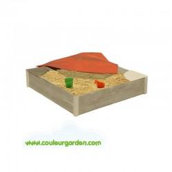 Bac à sable carré 120 x 120 brut avec bâche de protection