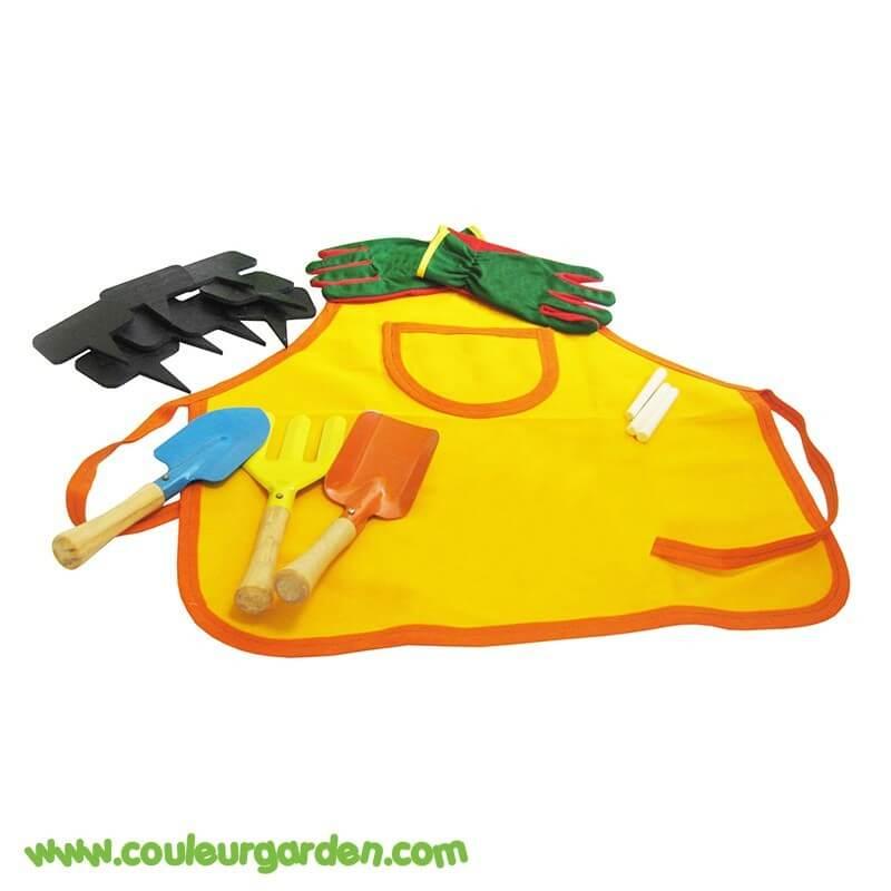 Set petit jardinier: tablier + gants + 3 outils + 5 ardoises