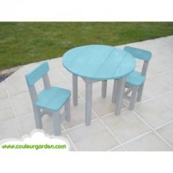 Table ronde pour enfants bleue + Chaises pour enfants bleues x 2