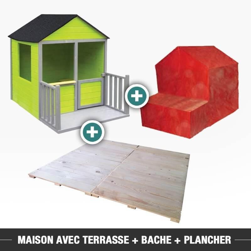 Maison de jardin avec terrasse + bache + plancher