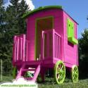 Maison roulotte enfant bois naturel