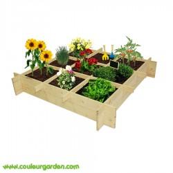 Carré potager pour enfant en bois 100 x 100 x 18 cms avec 9 carrés de culture