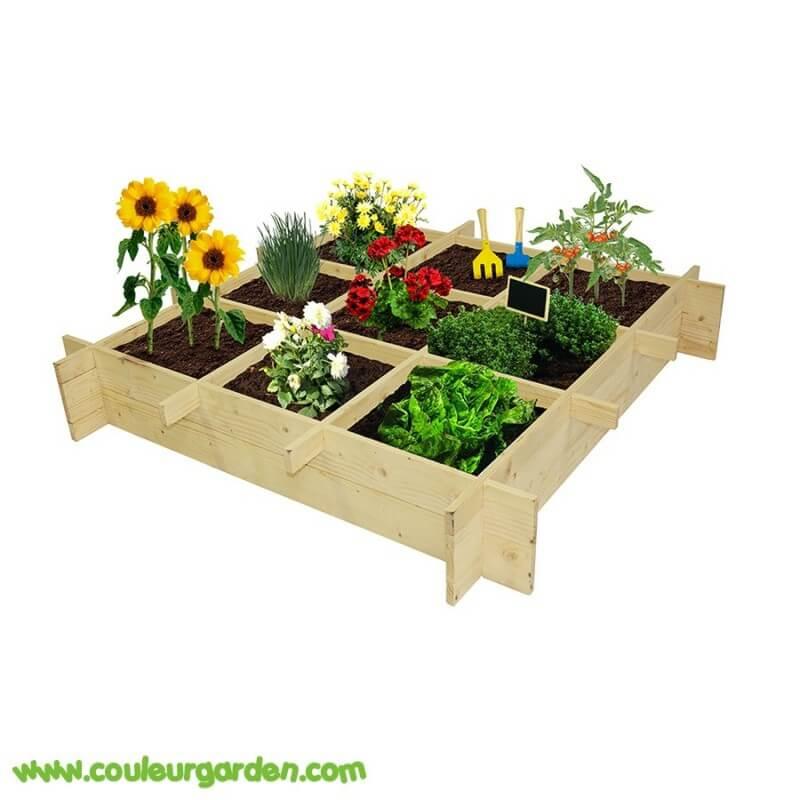 carr potager pour enfant en bois 100 x 100 x 18 cms avec 9 carr s de culture couleur garden