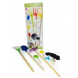 Set grand outillage de jardinier : 6 outils de jardinage (3 manche court et 3 manche long) + 10 ardoises