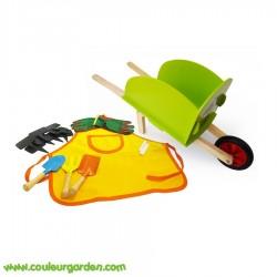 Set complet petit jardinier: brouette en bois + tablier + gants + 3 outils + 5 ardoises