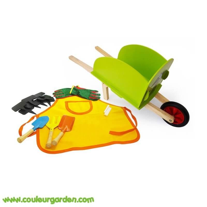 Set complet petit jardinier brouette en bois tablier gants 3 outils 5 ardoises - Tablier jardinage enfant ...