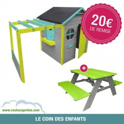 Maison de jardin avec pergola + Table pique nique verte et pour enfants