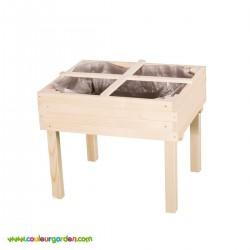 Carré potager en bois pour enfant sur pieds avec 4 carrés de culture