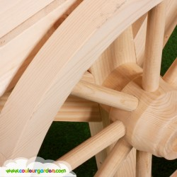 Maison roulotte enfant bois naturel avec toit court - Cabane enfant