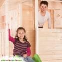 Maison enfant cottage avec terrasse sur pilotis 120 cms avec toboggan de 250 cms. Version brute à peindre avec toit goudron