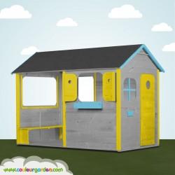 Maison enfant patio avec plancher et grande terrasse abritée et ultra équipée - version colorée