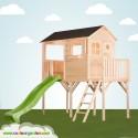 Grande cabane enfant patio sur pilotis de 1m20 avec grande partie terrasse abritée toboggan double vague - version brute