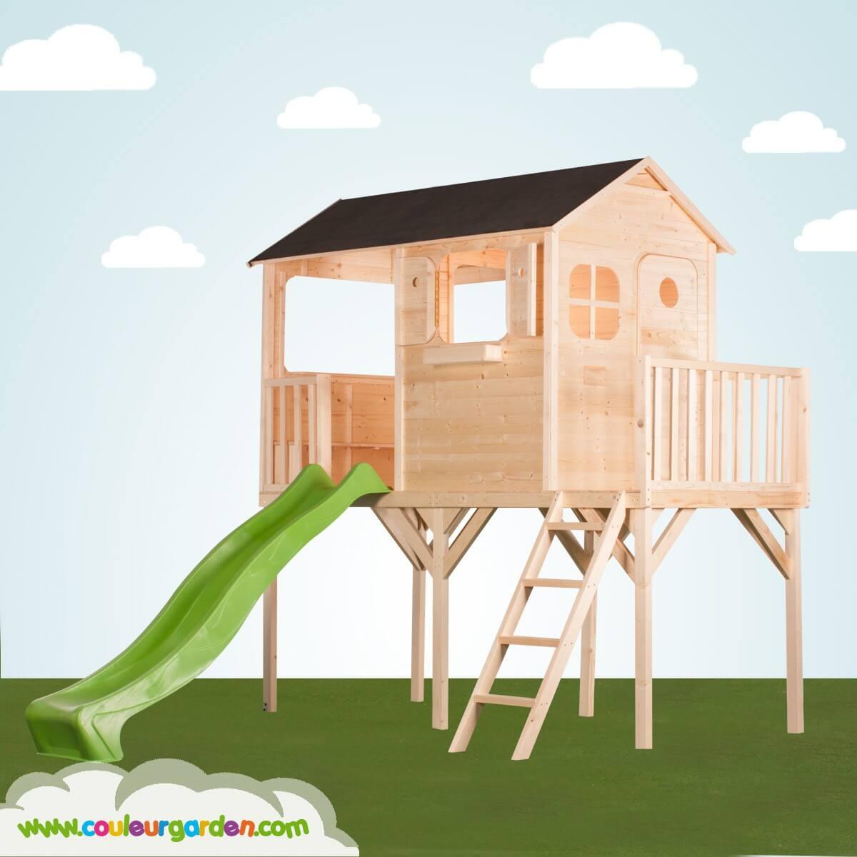 Maisonnette bois toboggan lekingstore maisonnette enfant wooden play house maisonnette en bois - Cabane enfant toboggan ...