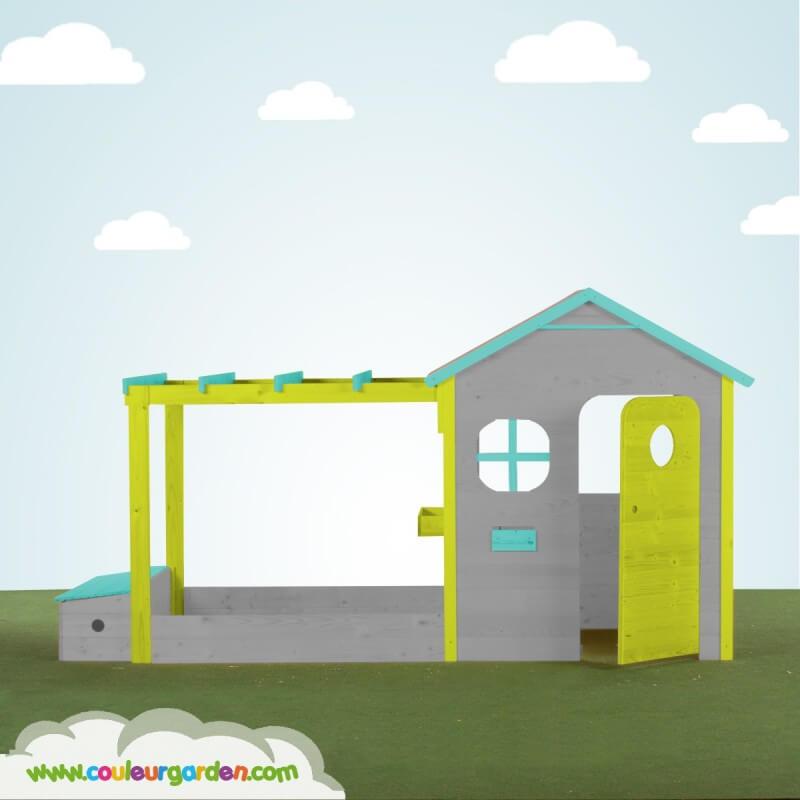 Maison de jardin avec pergola + Bac à sable + Coffre à jouets