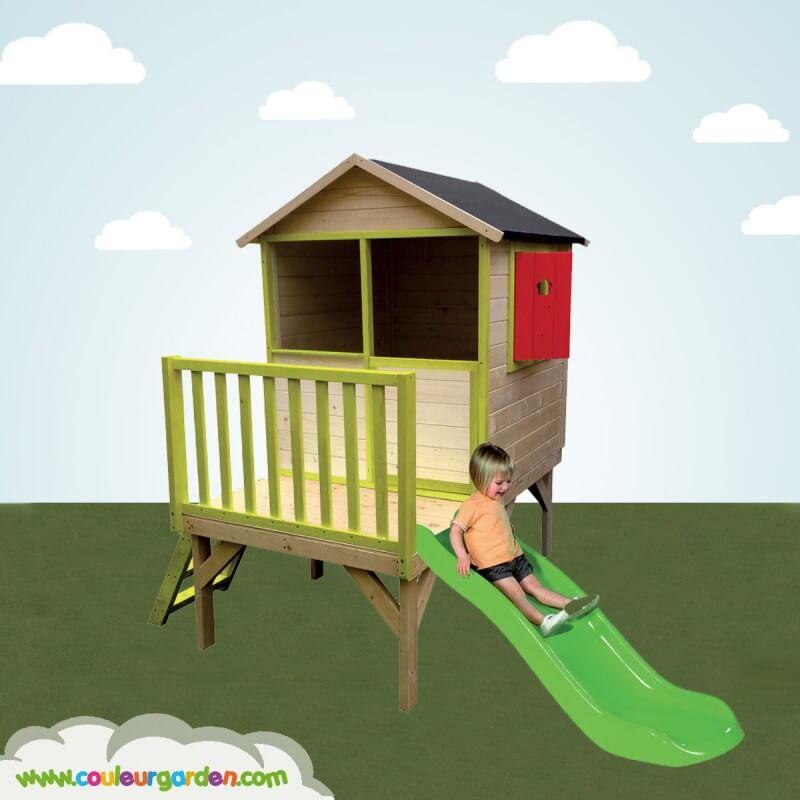 Maison de jardin enfant colorée sur pilotis 59 cms avec toboggan 1 m