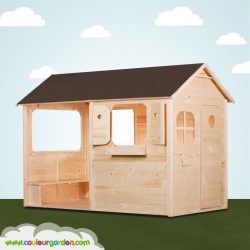 Maison enfant patio avec plancher et grande terrasse abritée et ultra équipée - version brute