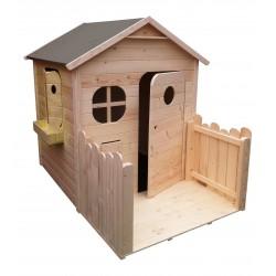 Maison de jardin enfant en bois naturel avec terrasse