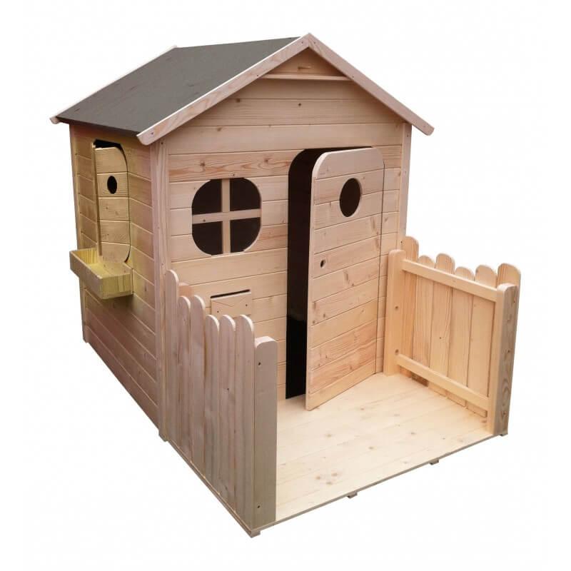 maison de jardin pour enfant en bois naturel avec terrasse couleur garden. Black Bedroom Furniture Sets. Home Design Ideas