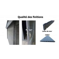 Abri alu/composite à toit double pente 3 x 3 m