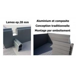 Abri alu/composite à toit double pente 6 x 3 m