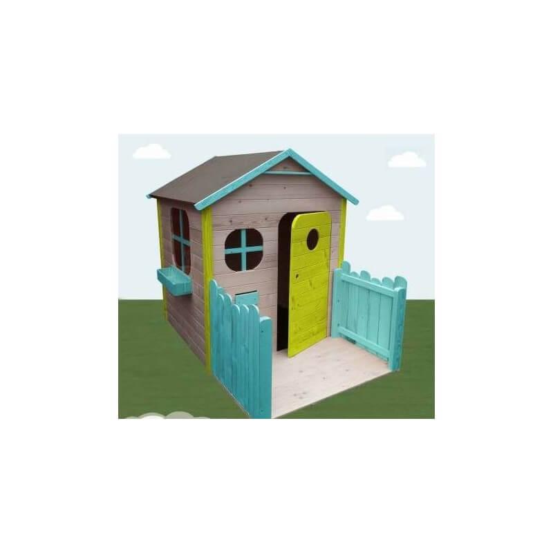 Maison de jardin enfant avec terrasse version colorée - Cabane enfant
