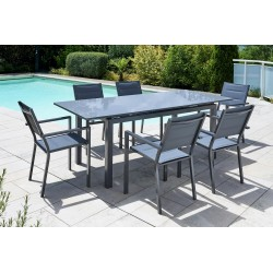 Table Ibiza lisse fumé 6/8 pers