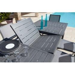Table Santorin aspect teck grisé 10/12 pers