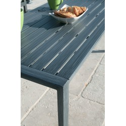 Table Santorin aspect teck grisé 6/8 pers