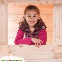 Maison enfant cottage avec terrasse. Version brute à peindre avec toit goudron - Cabane enfant