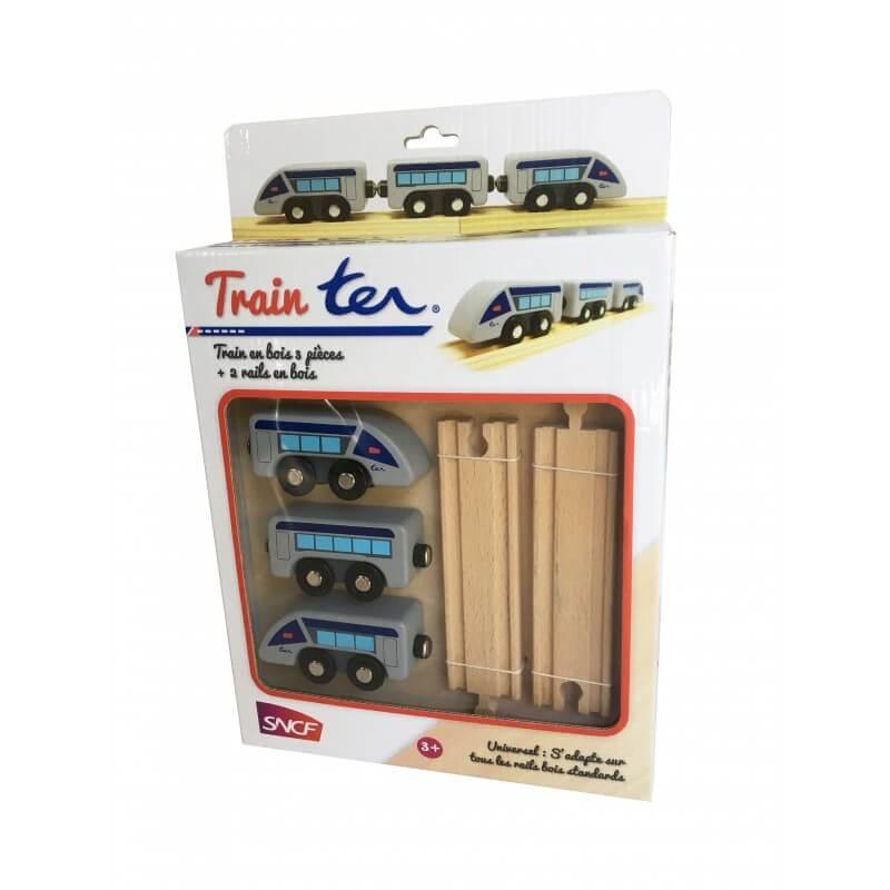 Train ter et rails en bois