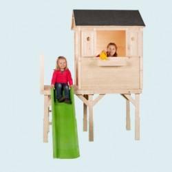 Ma première maisonnette sur pilotis avec toboggan en bois naturel - Cabane enfant
