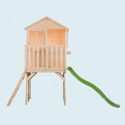 Ma première maisonnette sur pilotis hauteur 89 cms avec toboggan en bois naturel - Cabane enfant