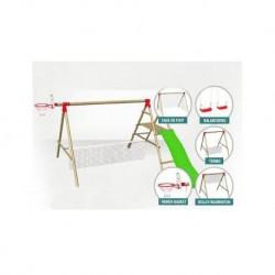 Portique balançoire autoclave 6 en 1 : 6 agrès inclus + 2 ballons offerts
