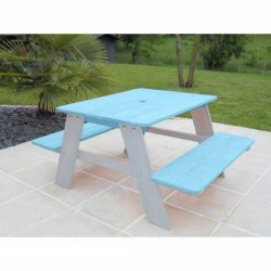 Table pique nique pour enfants bleue