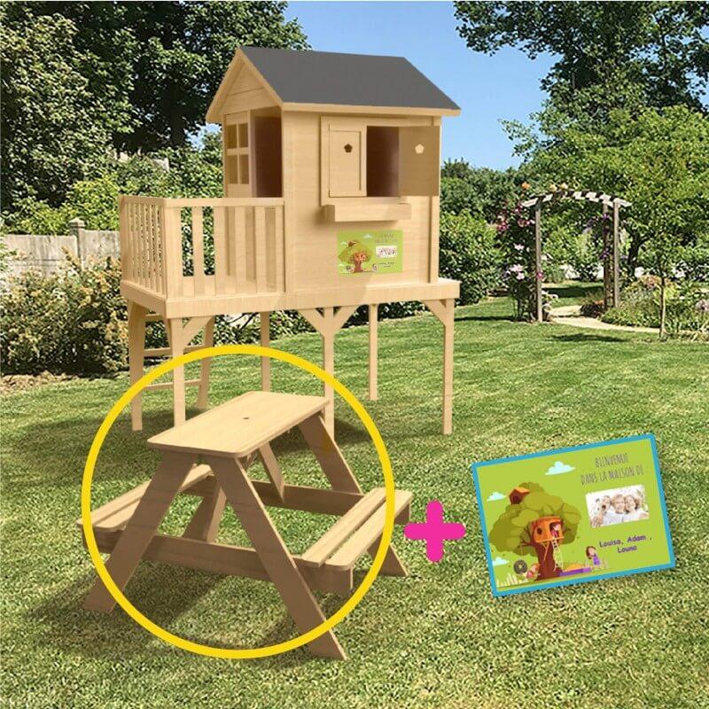 Pack Bon Plan Maison De Jardin Enfant Sur Pilotis 59 Cms Table Pique Nique Brute Ecriteau