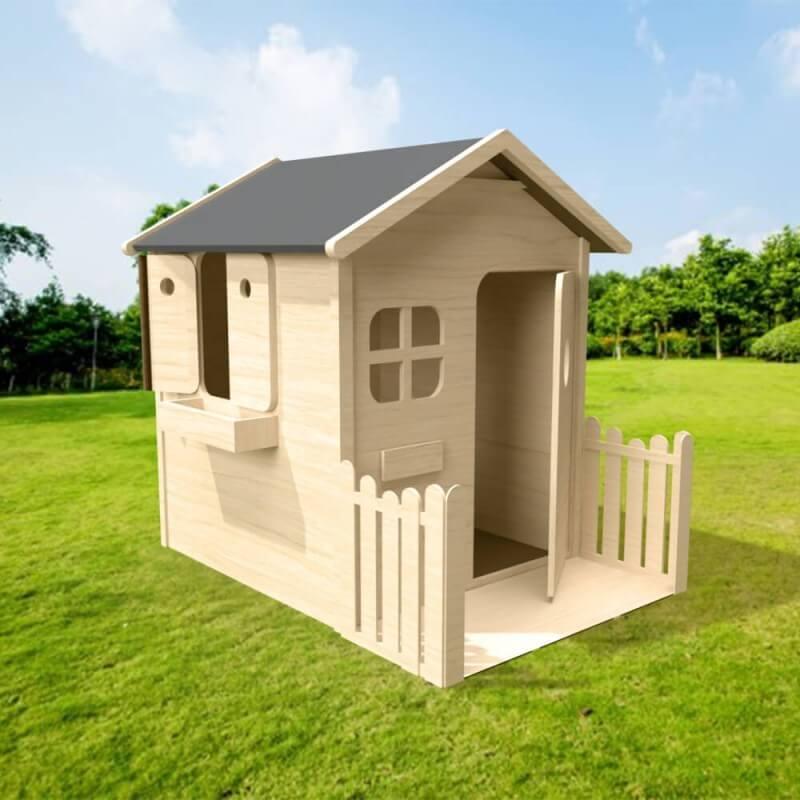 Maison de jardin pour enfant en bois naturel avec terrasse