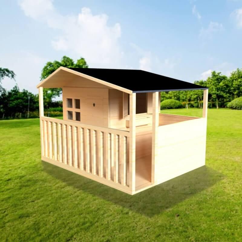 Maison enfant cottage avec terrasse. Version brute à peindre avec toit goudron