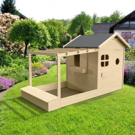 Maison de jardin pour enfant avec pergola + bac à sable + coffre à jouets version brute