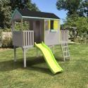 Grande cabane enfant patio sur pilotis de 1m20 avec grande partie terrasse abritée toboggan double vague