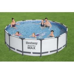 Piscine Steel Pro Max™ ronde 427 x 107 cm, filtration à cartouche, échelle, bâche et cartouche inclus COULEUR GARDEN