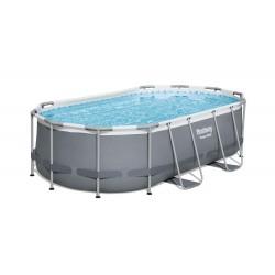 Piscine hors sol Power Steel™ ovale 427 x 250 x 100 cm, filtre à cartouche, échelle, diffuseur Chemconnect™ COULEUR GARDEN