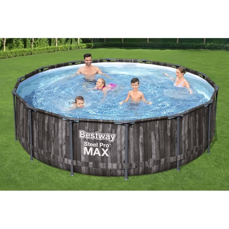 Piscine hors sol ronde Steel Pro Max™ décor bois, 427 x 107 cm, filtre à cartouche, bâche, échelle, diffuseur Chemconnect™