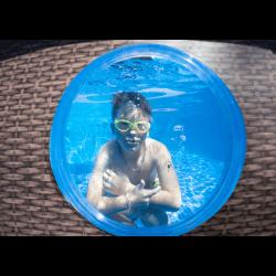 Piscine hors sol Power Steel™ SwimVista ovale motif rotin avec hublots 427 x 250 x 100 cm COULEUR GARDEN