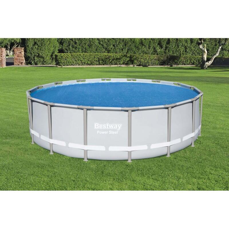 Bâche solaire diamètre 462 cm pour piscine hors sol ronde diamètre 457 à 488 cm COULEUR GARDEN