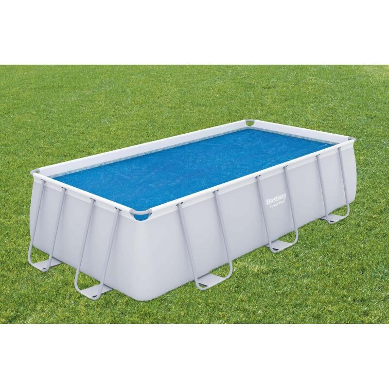 Bâche solaire 380 x 180 cm pour piscine hors sol rectangulaire 404 x 201 cm ou 412 x 201 cm COULEUR GARDEN