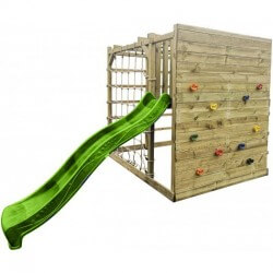 Aire de jeux avec toboggan et cube multi-escalade en bois