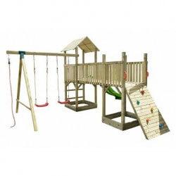 Aire de jeux en bois 2 tours avec toboggan