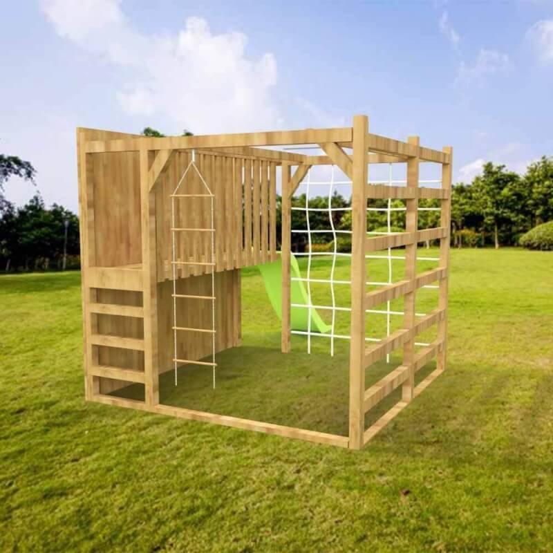 Aire de jeux avec toboggan et cube multi-escalade en bois Autoclave