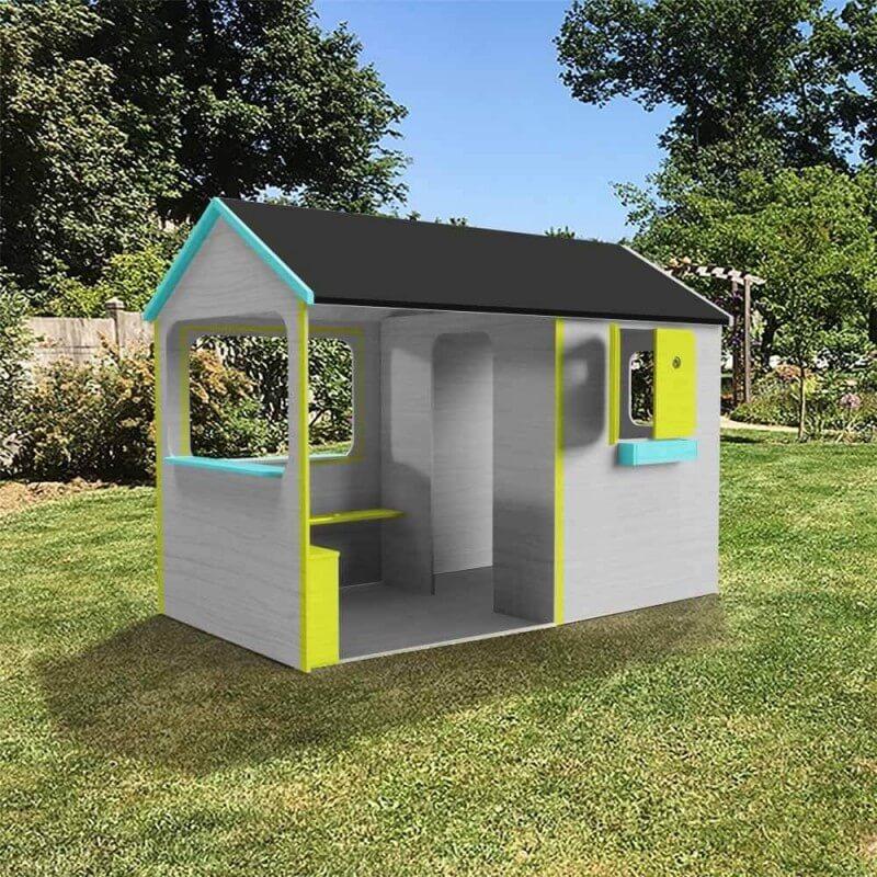 Maison enfant patio avec plancher et grande terrasse abritée et ultra équipée - version colorée - Cabane enfant