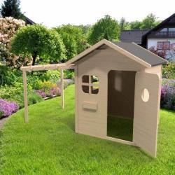 Maisonnette de jardin avec pergola en bois naturel - Cabane enfant